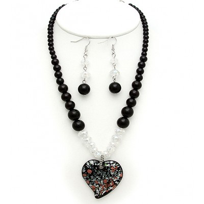 Murano Glass Necklace & Earrings Set - NE-AACDS1904B