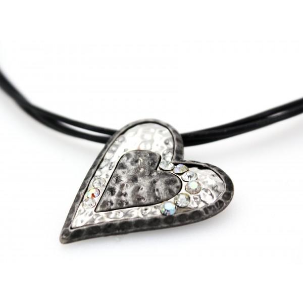 Rhinestone Heart Necklaces w/ Multi Cords - NE-ACQN4825SB