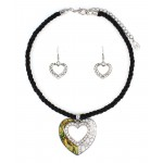 Abalone Heart Charm Necklace & Earring Set - NE-ACQS1142