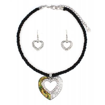 Abalone Heart Charm Necklace & Earring Set - NE-ACQS1142
