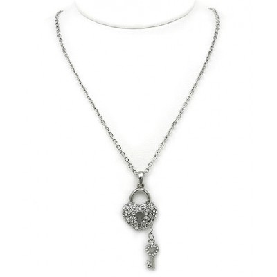Necklace - Rhinestone Heart w/ Key Charms Necklace - Clear -  NE-JVSN8149CL