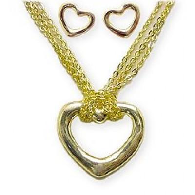 Necklace - Heart Charm & Earrings  Set -  NE-MS3149G