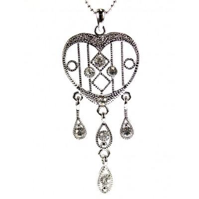 Necklace - Rhinestone Hearts w/ Dangling Teardrops - Rhodium Platin - NE-N4271CL