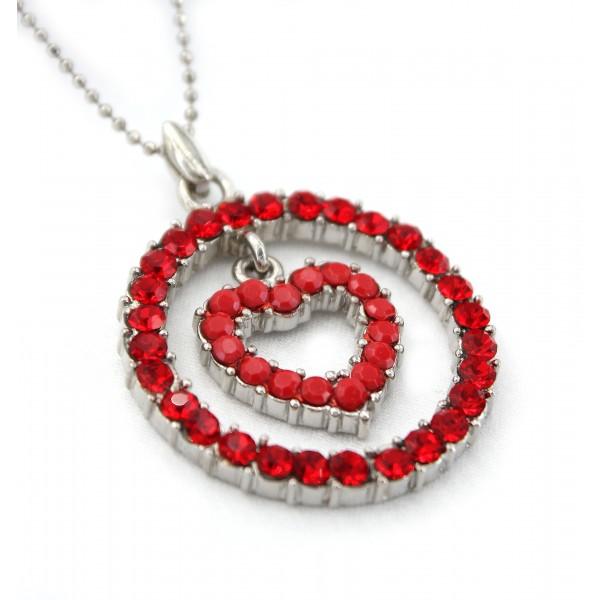 Loop & Heart Austrian Crystal Necklace - Red - NE-P1060RD