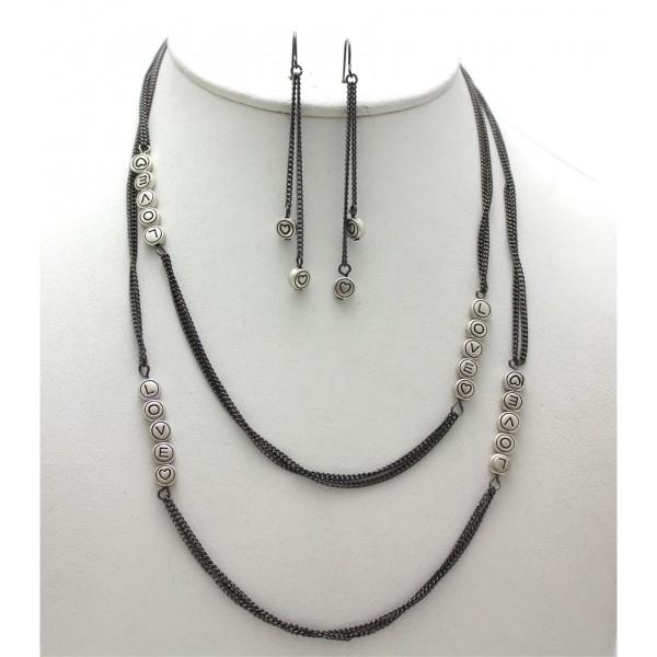 "Necklace - 40"" Love w/ Heart Sign Necklace & Earring Set - Hema MS Tone - NE-QNE2004HMS"