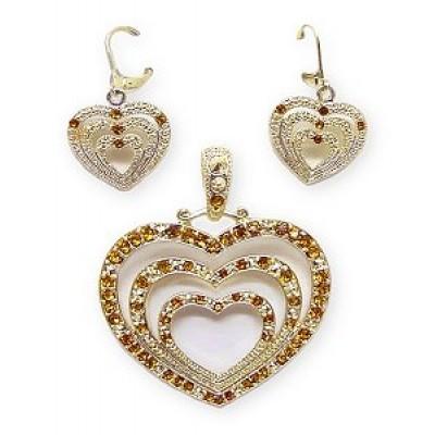 Necklace - Estate Triple Gold tone Heart w/ Earring set -  PT-MCE1242GTO