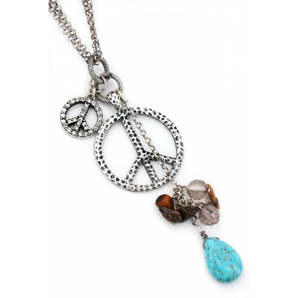 Multi Peace Signs Necklace w/ TQ Blue Stone - NE-ACQN4797
