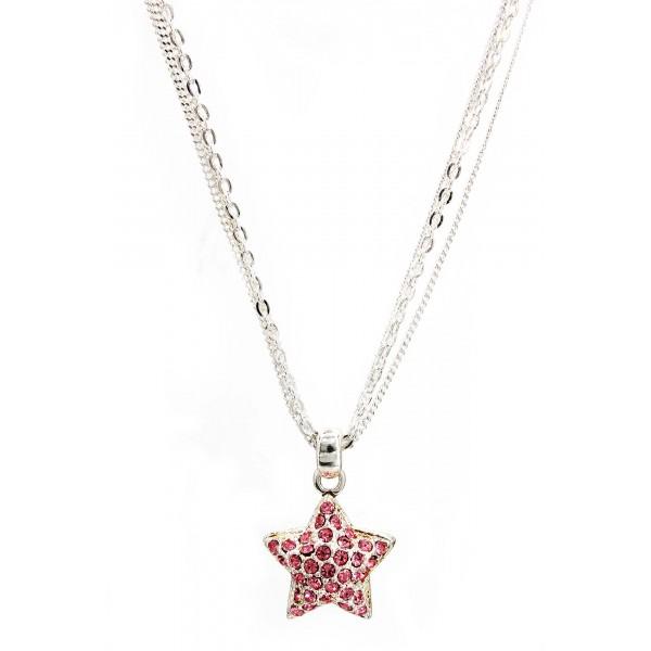 Designer Styled Crystal Necklace/ Star - Pink - NE-JJN1024PK