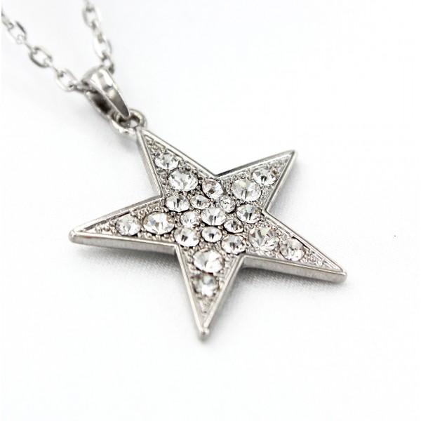 Rhinestone Star Charms Necklaces - Clear -NE-JVSN8316CL