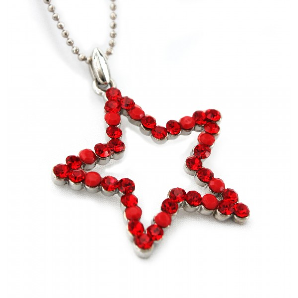 Star Austrian Crystal Necklace - Red - NE-P1037RD