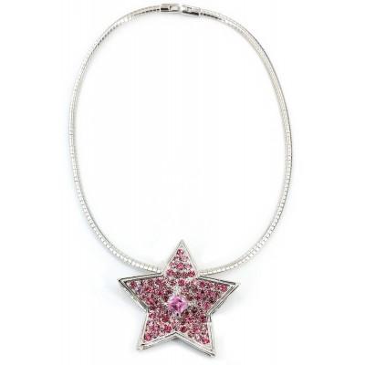 Rhinestone Star Charm w/ CZ Necklace - Pink - NE-TJ027PK