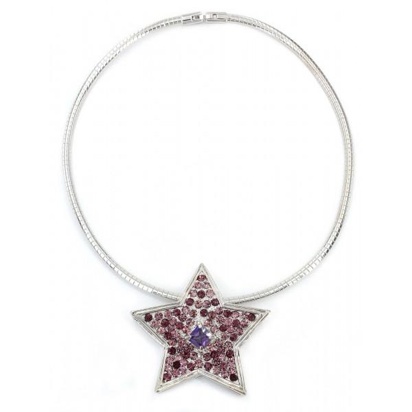 Rhinestone Star Charm w/ CZ Necklace - Purple - NE-TJ027PL