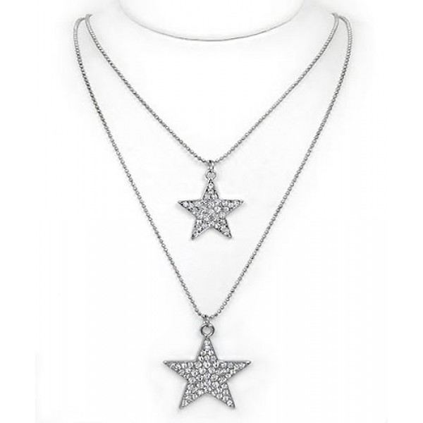 Rhinestone Double-Strand Star Charm Necklaces - Clear - NE-JN3392CL