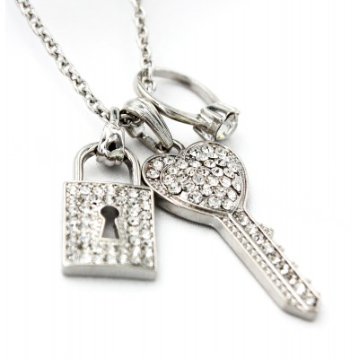 Rhinestone Key Charms Necklaces - Clear - NE-JVSN8920CL