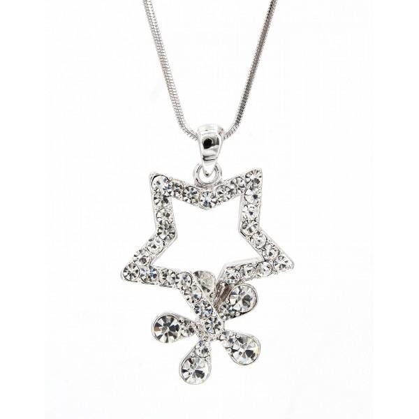 Rhinestone Star w/ Flower - Rhodium Plating - Made in Korea - NE-N4357CL