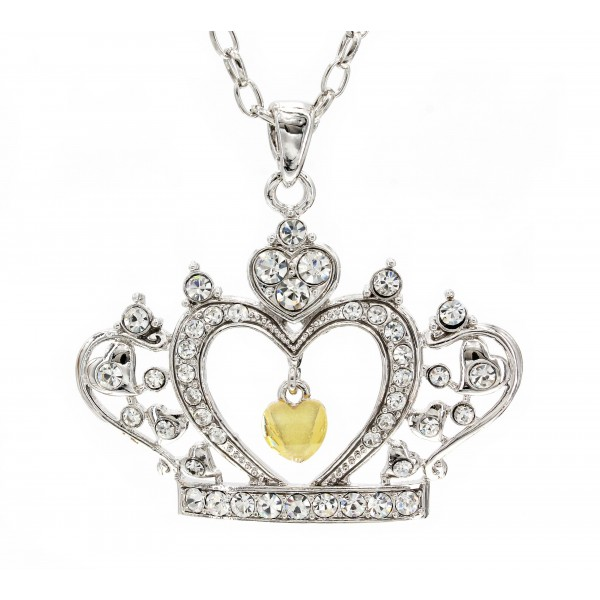 Swarovski Crystal Crown Charm - Clear -Made in Korea - Clear - NE-N4925CL