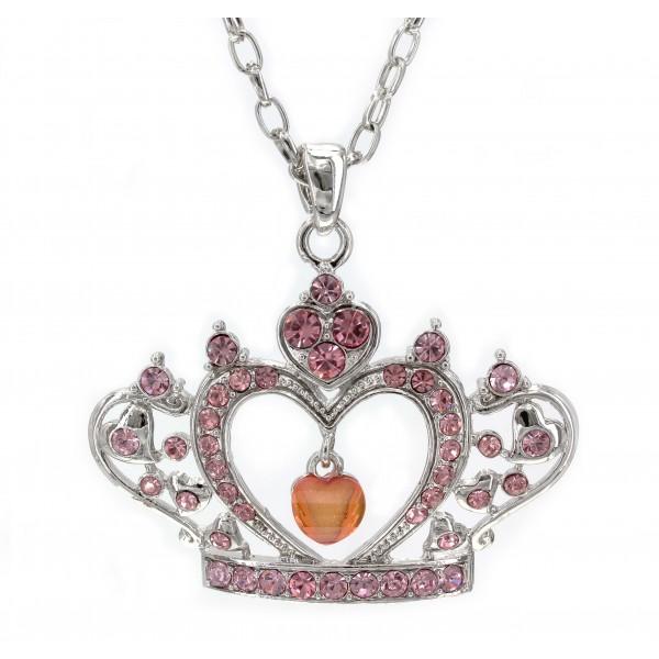 Swarovski Crystal Crown Charm - Pink -Made in Korea - Pink - NE-N4925PK