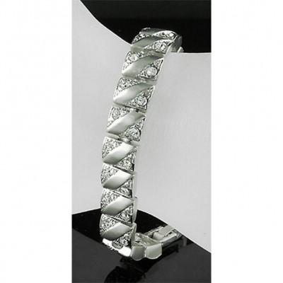 Chain Bracelet Rhodium Electronic Plating w/ Austrian Crystal - BR-RDB005CL