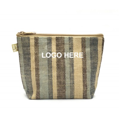 Jute Cosmetic Purses: Multi Stripes - CM-JTP107-LOGO