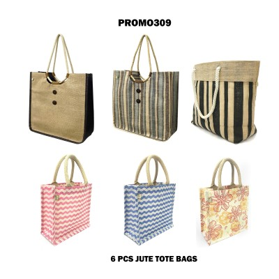 Discount Package: 6 Pieces Jute Totes Assorted Pack  - PROMO309