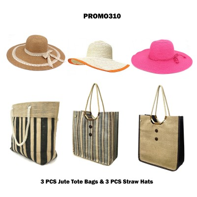 Discount Package: 6 Pieces Jute Totes and Hats Assorted Pack  - PROMO310