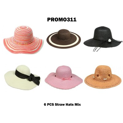 Discount Package: 6 Pieces Straw Hats Assorted Pack  - PROMO311