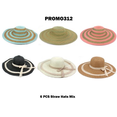 Discount Package: 6 Pieces Straw Hats Assorted Pack  - PROMO312