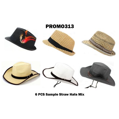 Discount Package: 6 Pieces Straw Hats Assorted Pack  - PROMO313