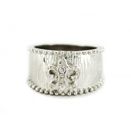 Finger Ring - 925 Sterling Silver with Fleur de Lis Charm - RN-PRG8974