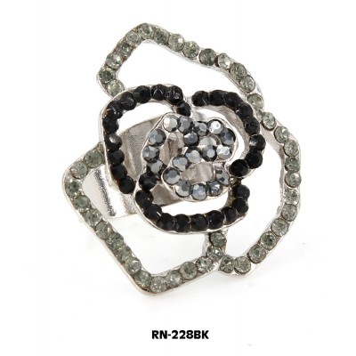 Austrian Crystal Rose Flower Ring  - Black Color - RN-228BK