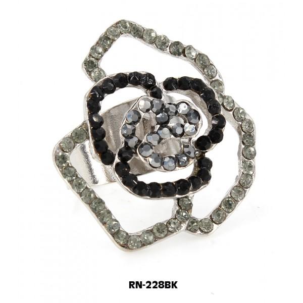 Austrian Crystal Rose Flower Ring  - Black Color - RN-228BK