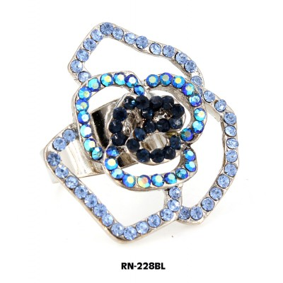 Austrian Crystal Rose Flower Ring  - Blue Color - RN-228BL