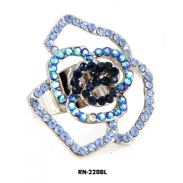 Austrian Crystal Rose Flower Ring  - Blue Color - RN-228BL