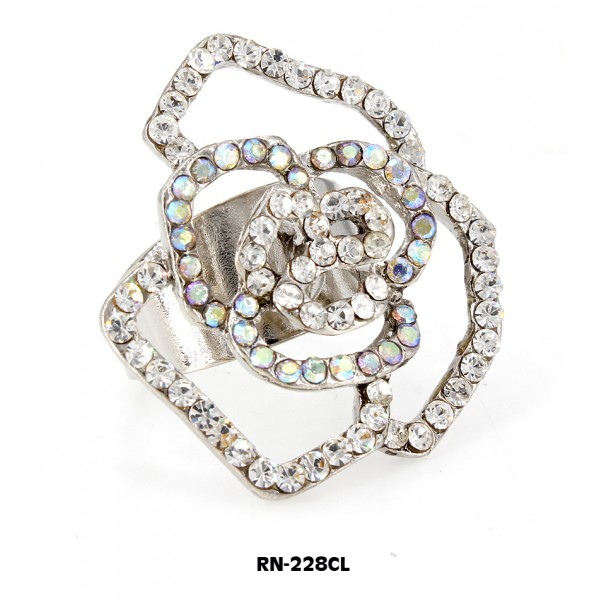 Austrian Crystal Rose Flower Ring  - Clear Color - RN-228CL