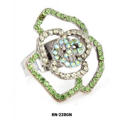 Austrian Crystal Rose Flower Ring  - Green Color - RN-228GN