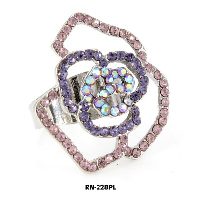 Austrian Crystal Rose Flower Ring  - Purple Color - RN-228PL