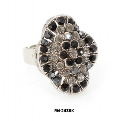 Austrian Crystal Ring  - Black Color - RN-243BK