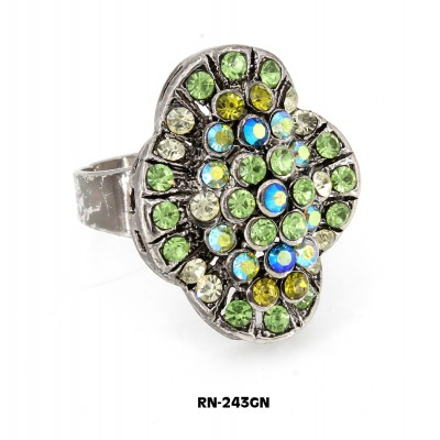 Austrian Crystal  Ring  - Green Color - RN-243GN