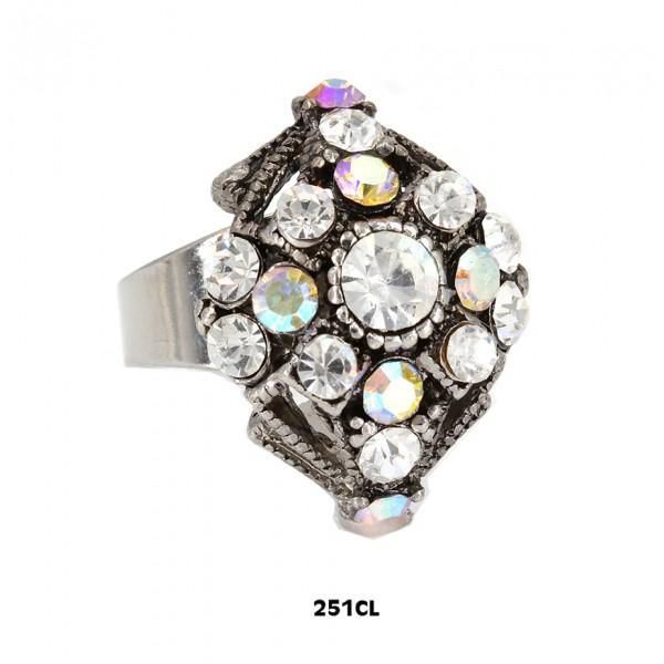 Austrian Crystal Ring  - Black Color - RN-251CL