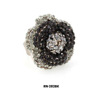 Austrian Crystal Flower Ring  - Black Color - RN-282BK