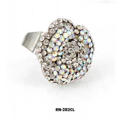 Austrian Crystal Flower Ring  - Clear Color - RN-282CL