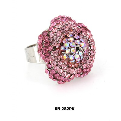 Austrian Crystal Flower Ring  - Pink Color - RN-282PK