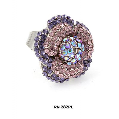 Austrian Crystal Flower Ring  - Purple Color - RN-282PL