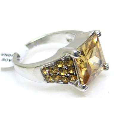 12-PC CZ Rings/ Square Rhodium Plated - Assorted Size - RN-CQR1000G