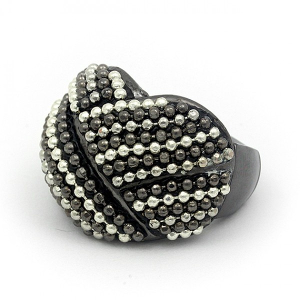 Finger Rings w/ Linear Balls, 2 Tones, Stretchable - RN-KR04HRHS