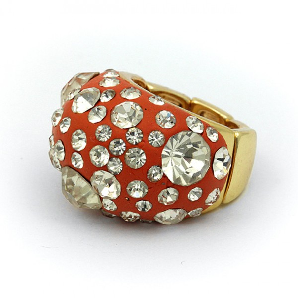 Finger Rings, Paved Rhinestones, Stretchable - Gold / Brown - RN-KR13BR
