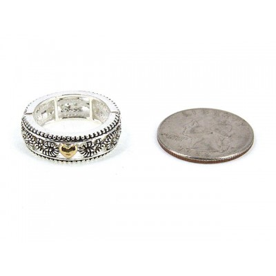 12-PC Finger Rings, Stretchable, Wester Texture - RN-OR0001-TT