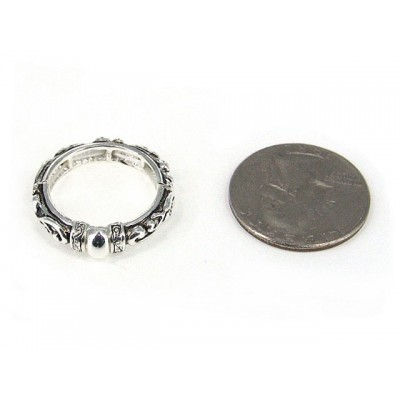 12-PC Finger Rings, Stretchable, Wester Texture - RN-OR0006-AS