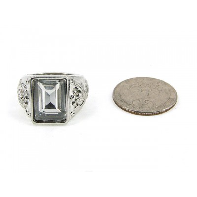12-PC Finger Rings, Stretchabel, Wester Texture w/ Square Stone- RN-OR0007-RD