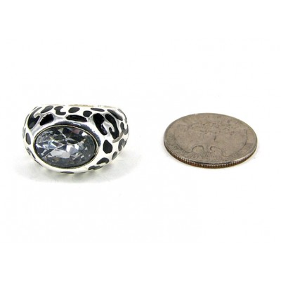 12-PC Finger Rings, Stretchable, Black Texture w/ Oval Stone - RN-OR0032-SVBLK